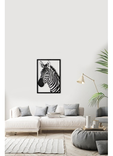 Angemiel Zebra Dünyası Metal Duvar Tablosu Siyah